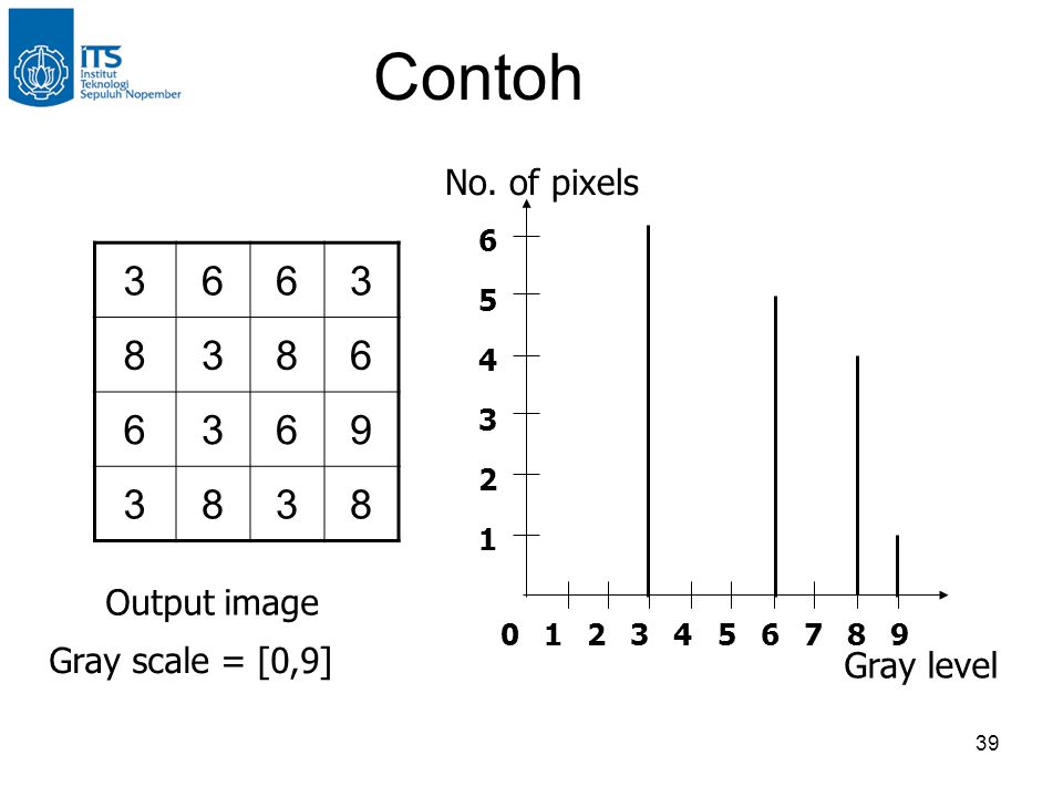 Contoh 3 6 8 9 No. of pixels Output image Gray scale = [0,9]